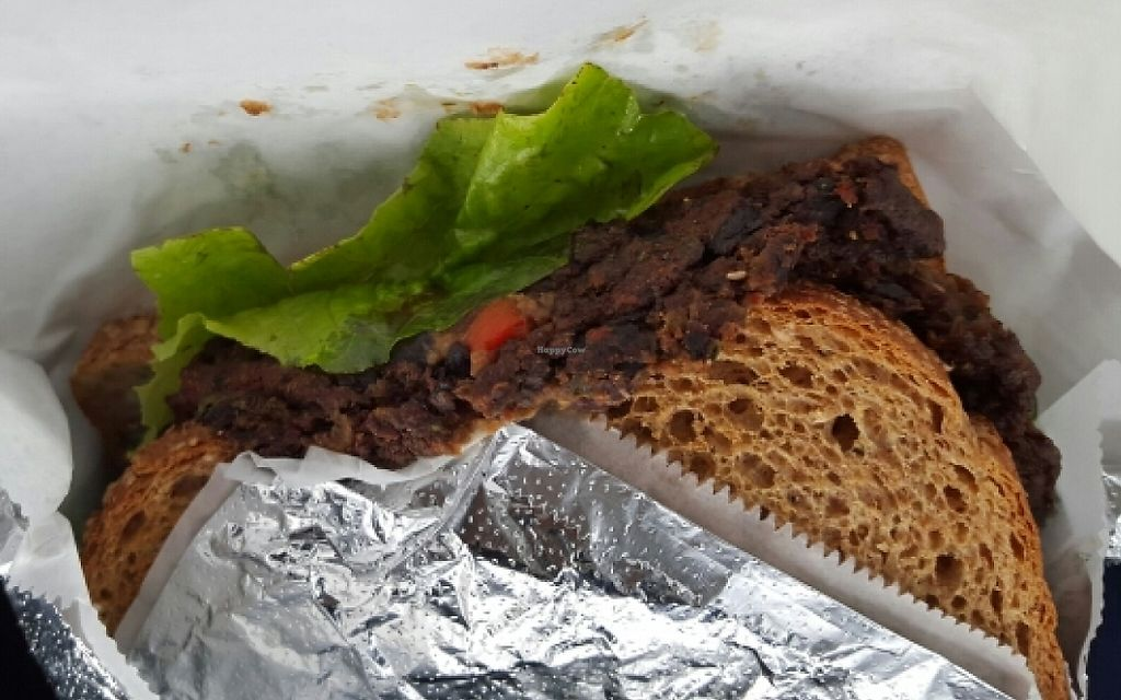 """Photo of Ann's Health Food Center and Market  by <a href=""""/members/profile/CrystalMarie"""">CrystalMarie</a> <br/>Black Bean Burger (on toast) <br/> November 6, 2015  - <a href='/contact/abuse/image/11214/227543'>Report</a>"""