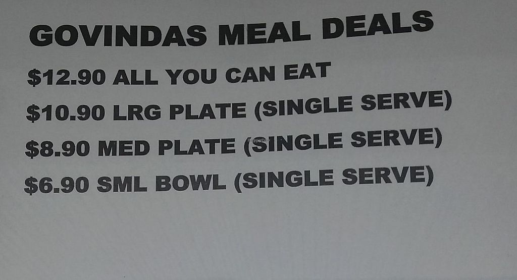 "Photo of Govindas - Surfers Paradise  by <a href=""/members/profile/vegan%20mikal"">vegan mikal</a> <br/>Meal deals at Govinda's <br/> October 20, 2014  - <a href='/contact/abuse/image/11216/254264'>Report</a>"