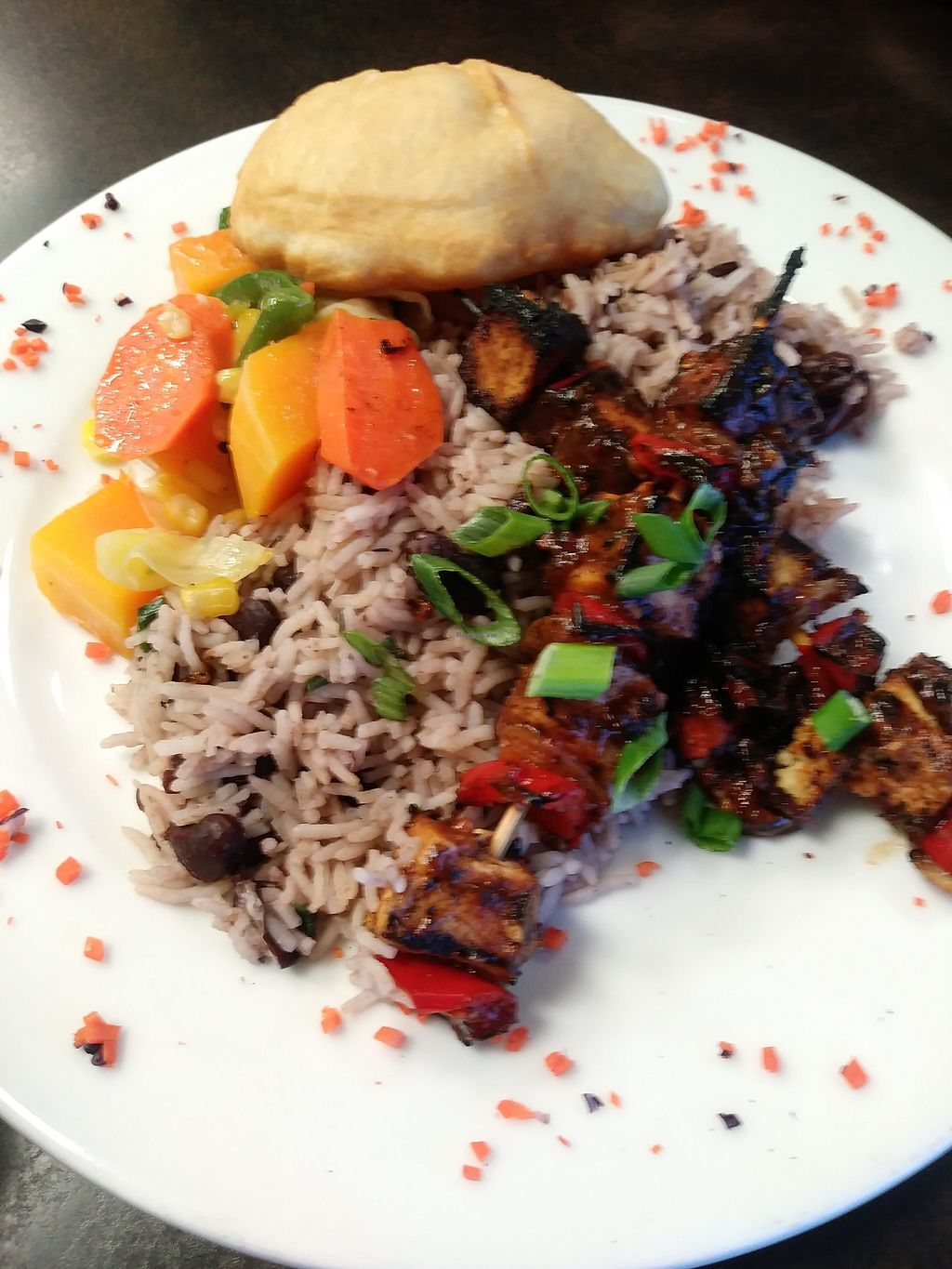 """Photo of Jamaican Kitchen  by <a href=""""/members/profile/LolaMeow"""">LolaMeow</a> <br/>Jerk Tofu Kabobs <br/> February 17, 2018  - <a href='/contact/abuse/image/112178/360189'>Report</a>"""