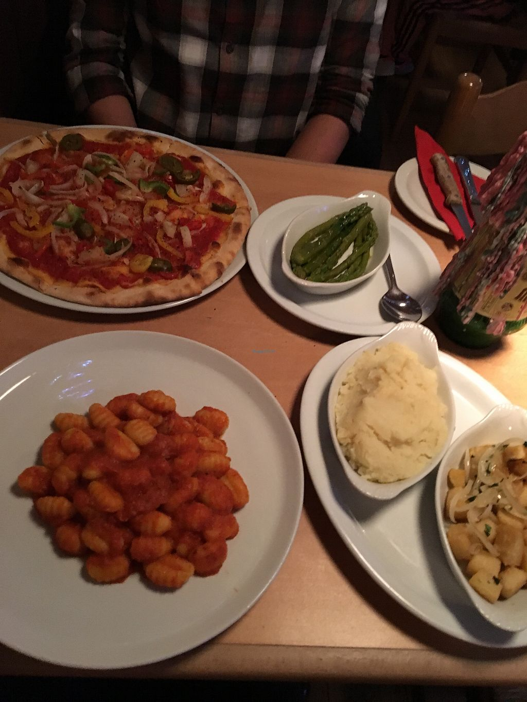 """Photo of Arlecchino  by <a href=""""/members/profile/LaurenRobinson"""">LaurenRobinson</a> <br/>Vegano Pizza, Gnocchi Napoletana, Sauted Potatoes, asparagus and mashed potato  <br/> February 22, 2018  - <a href='/contact/abuse/image/112254/362530'>Report</a>"""