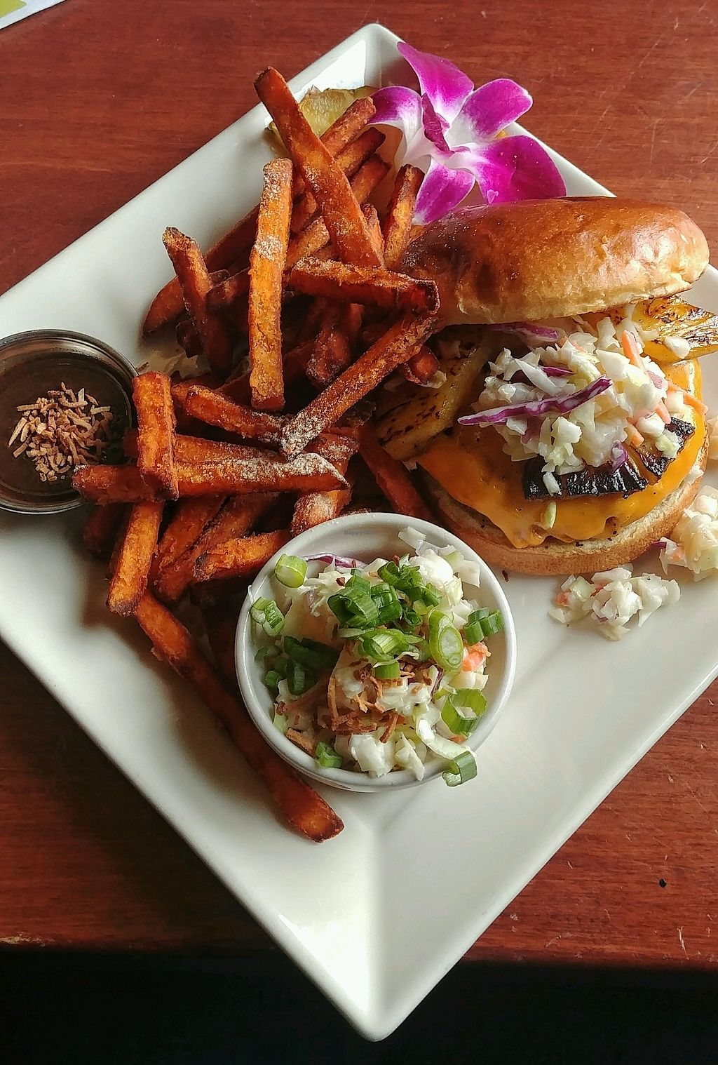 """Photo of The Tilted Tiki  by <a href=""""/members/profile/TabathaRichfield"""">TabathaRichfield</a> <br/>vegan Burger <br/> February 18, 2018  - <a href='/contact/abuse/image/112257/361070'>Report</a>"""
