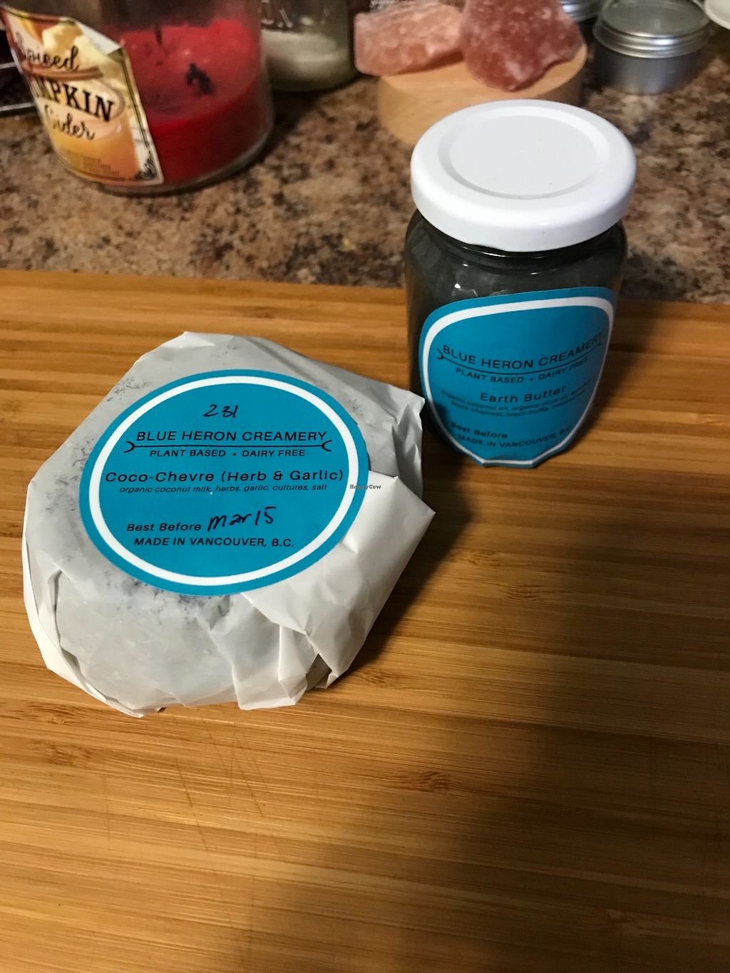 "Photo of Blue Heron Creamery  by <a href=""/members/profile/ohstephyy"">ohstephyy</a> <br/>Coco-chevre (herb & garlic) and Earth Butter <br/> February 18, 2018  - <a href='/contact/abuse/image/112388/361023'>Report</a>"