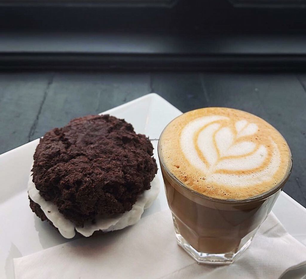 "Photo of Amateur Coffee  by <a href=""/members/profile/srblck"">srblck</a> <br/>Chocolate whoopie pie and oat milk cortado <br/> March 4, 2018  - <a href='/contact/abuse/image/112402/366369'>Report</a>"