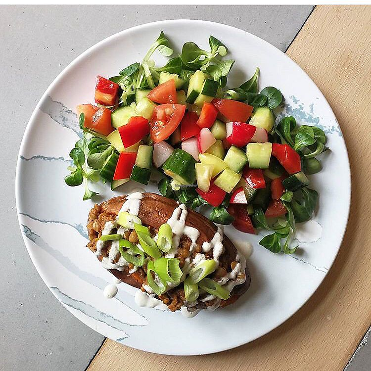 """Photo of Roots  by <a href=""""/members/profile/Nataliele"""">Nataliele</a> <br/>Sweet potato with lentil filling with veggie salad <br/> February 19, 2018  - <a href='/contact/abuse/image/112429/361259'>Report</a>"""