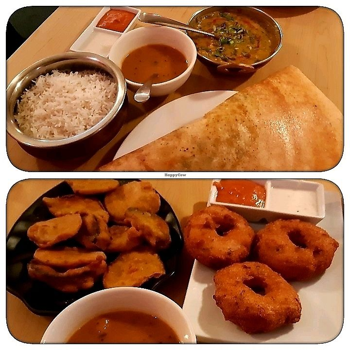 "Photo of Kathakali  by <a href=""/members/profile/Limatango"">Limatango</a> <br/>spinach and lentils, masala dosa, pakodas, lentil doughnuts <br/> March 1, 2018  - <a href='/contact/abuse/image/112472/365258'>Report</a>"