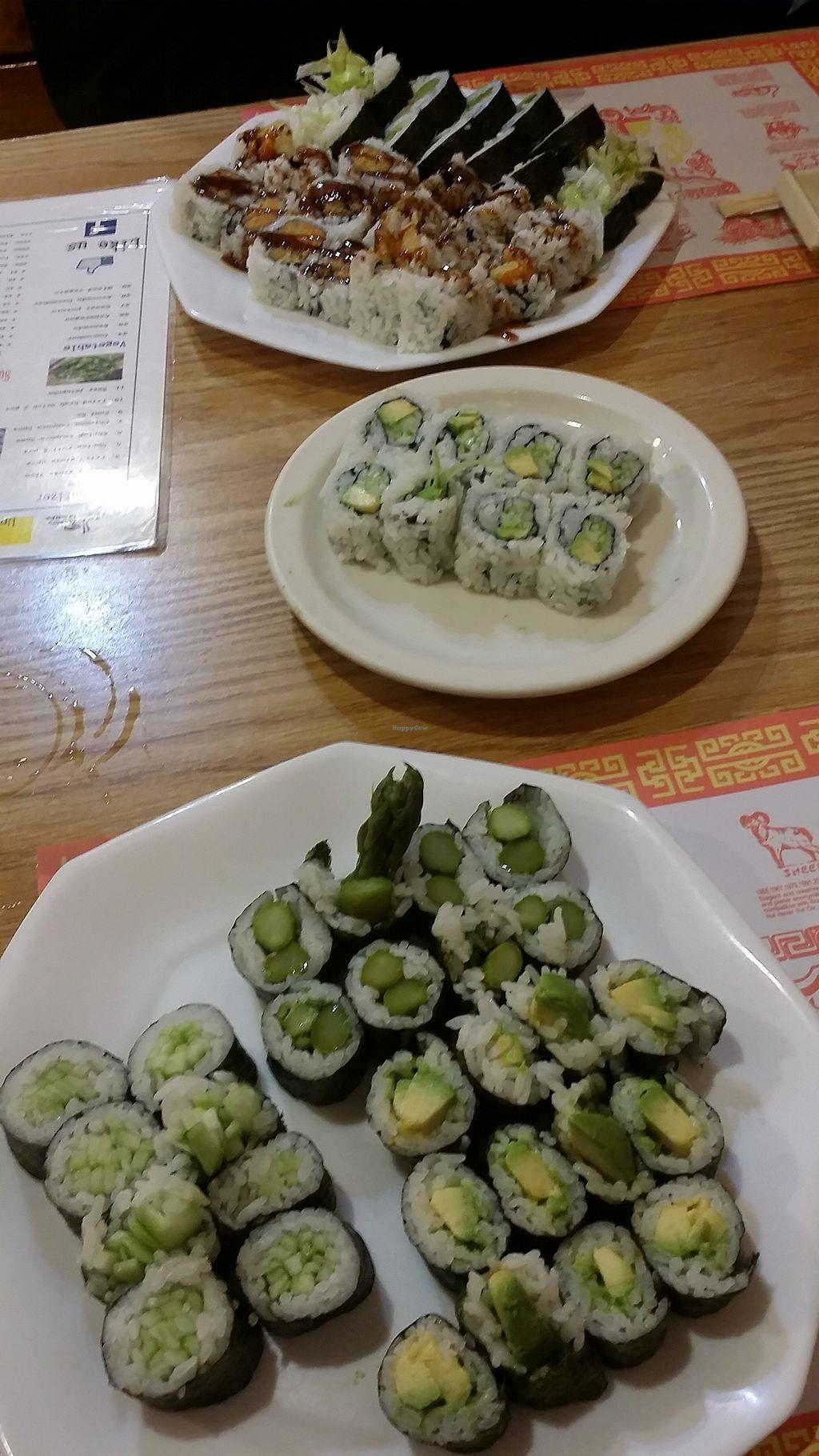 "Photo of Sushi Factory  by <a href=""/members/profile/maltinej"">maltinej</a> <br/>avocado rolls, asparagus rolls, sweet potato tempura rolls <br/> February 20, 2018  - <a href='/contact/abuse/image/112491/361518'>Report</a>"