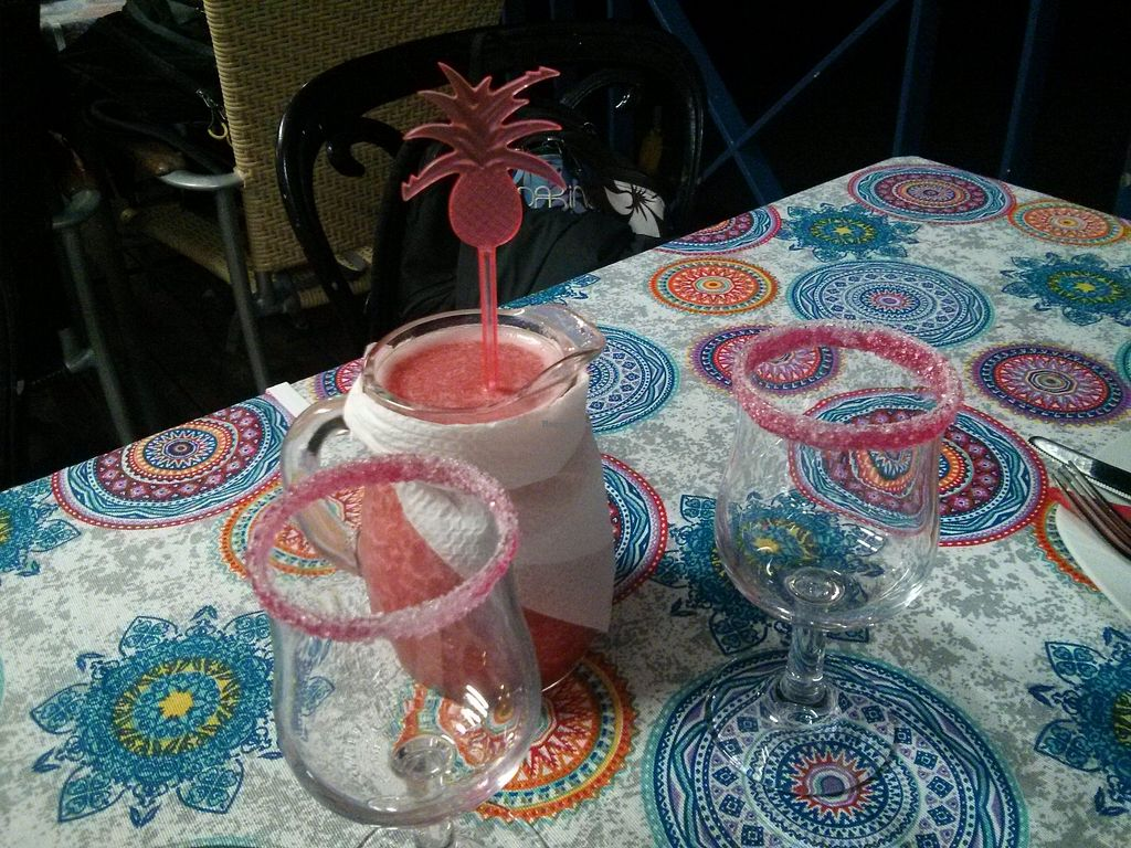 """Photo of El Chango  by <a href=""""/members/profile/LeoniePhiline"""">LeoniePhiline</a> <br/>1/2L non-alcoholic strawberry Margherita. Good choice!  <br/> March 7, 2018  - <a href='/contact/abuse/image/112543/367946'>Report</a>"""