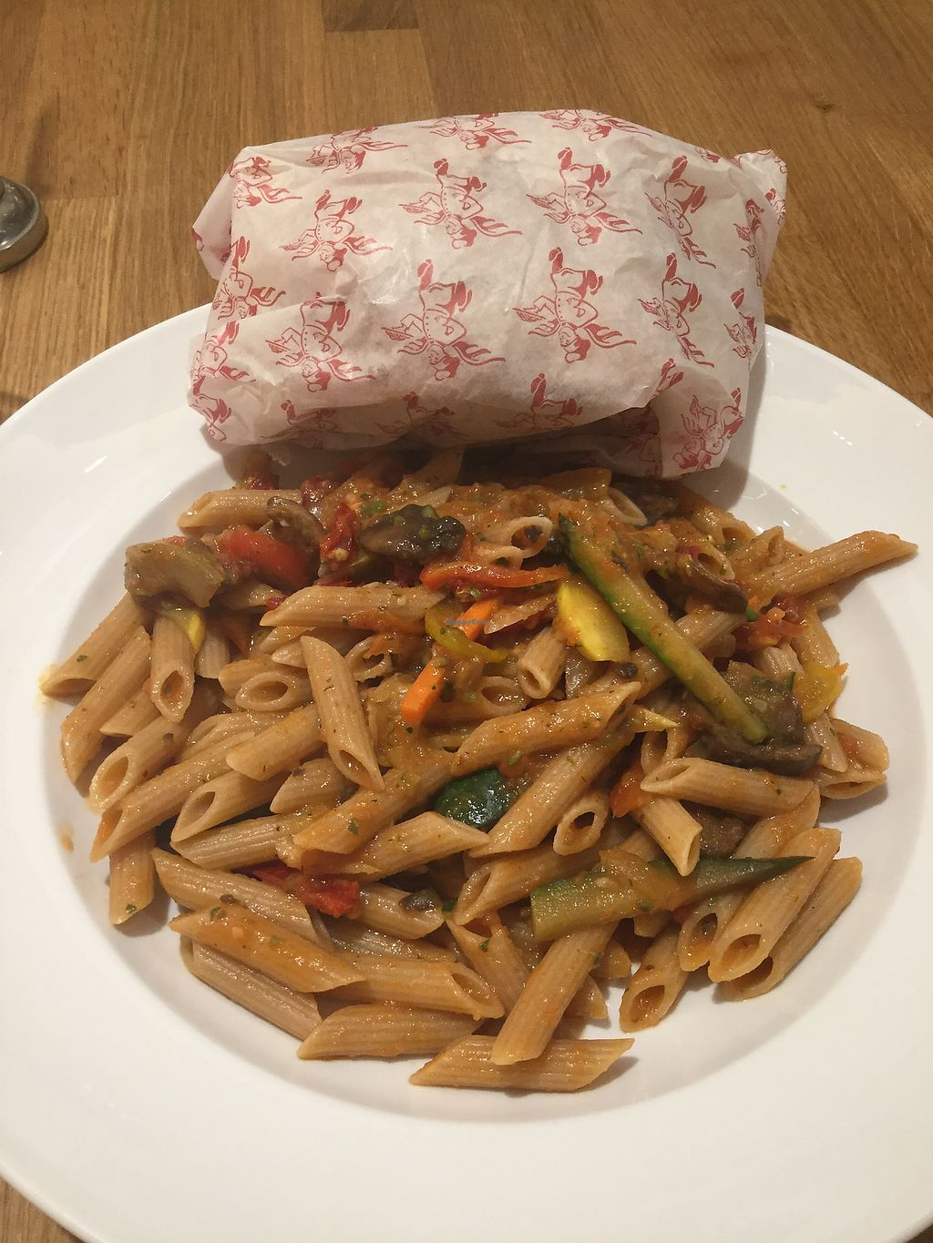 """Photo of Casa Barilla  by <a href=""""/members/profile/DianaKaren"""">DianaKaren</a> <br/>Penna Primavera with a side of bread <br/> February 19, 2018  - <a href='/contact/abuse/image/112563/361415'>Report</a>"""