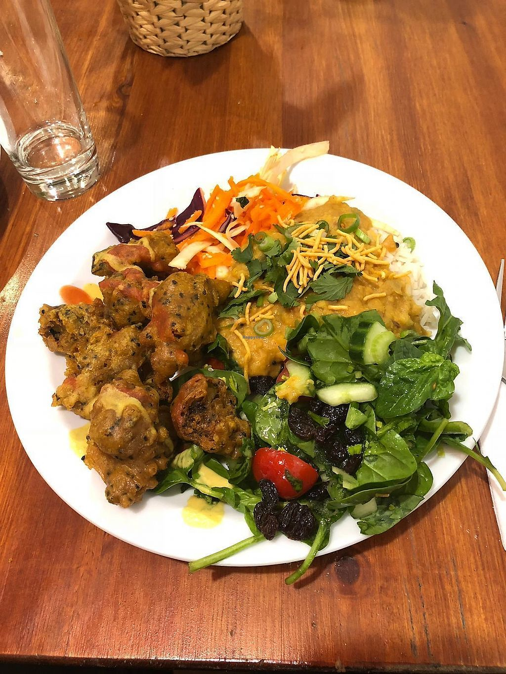 """Photo of Amrutha Lounge   by <a href=""""/members/profile/YouAreWhatYouEat"""">YouAreWhatYouEat</a> <br/>Vegan buffet... Curry, salad, pakoras, satay sauce  <br/> February 20, 2018  - <a href='/contact/abuse/image/112580/361520'>Report</a>"""