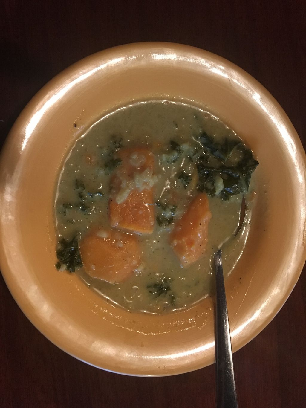 """Photo of Garlik Vegan  by <a href=""""/members/profile/Michael%20Isavegan"""">Michael Isavegan</a> <br/>Curry Sweet Potato and Kale soup <br/> April 13, 2018  - <a href='/contact/abuse/image/112581/384794'>Report</a>"""