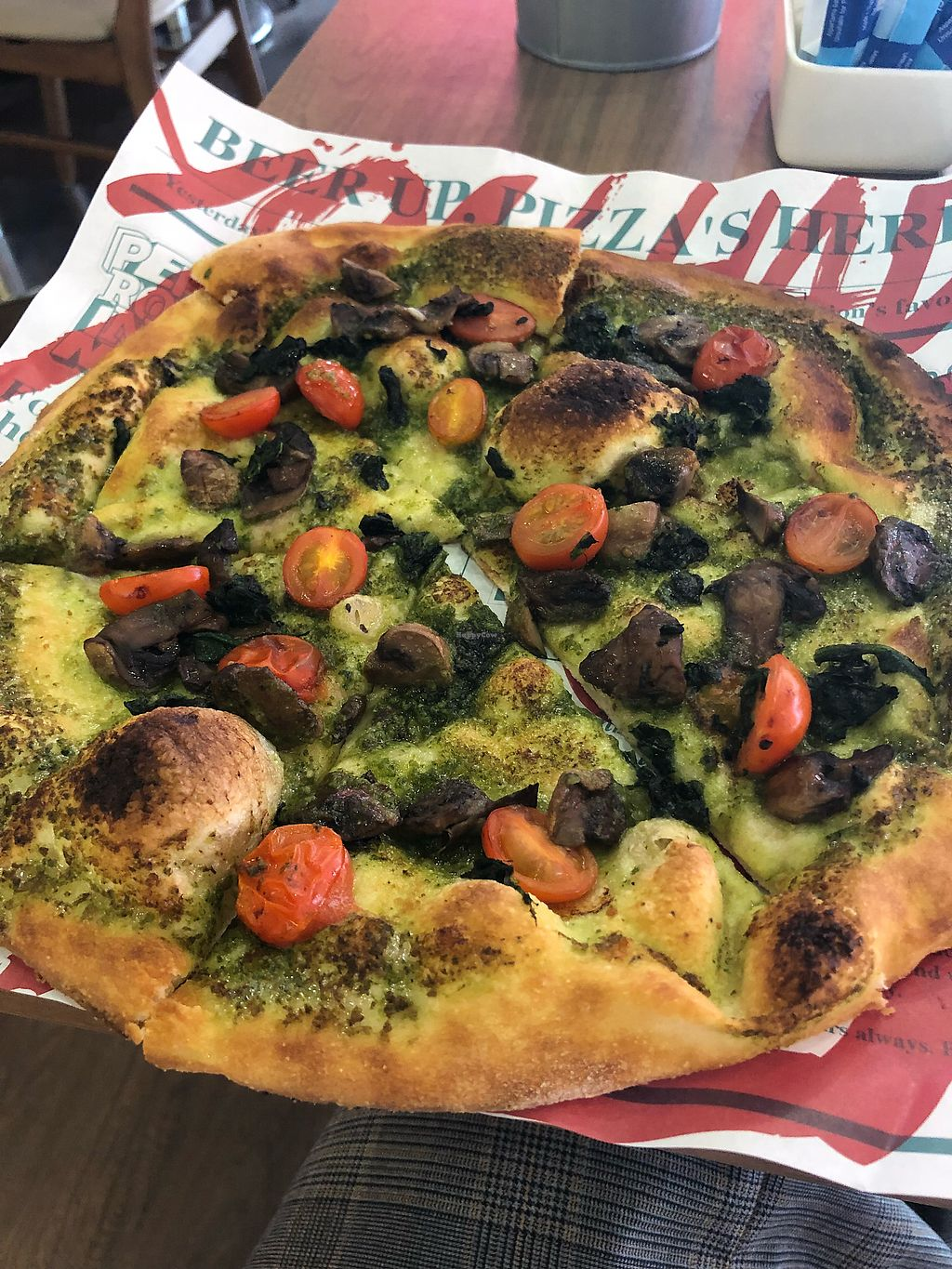 "Photo of Alt Pizza  by <a href=""/members/profile/lolisalo"">lolisalo</a> <br/>DIY garlic pesto base with mushroom, spinach and cherry tomato <br/> March 1, 2018  - <a href='/contact/abuse/image/112590/365295'>Report</a>"