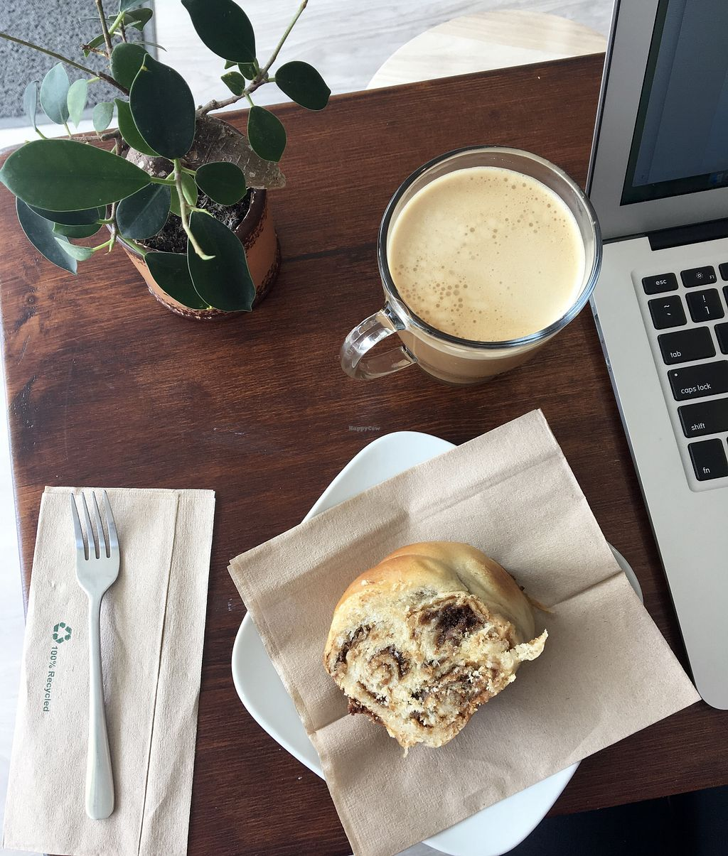 """Photo of Verde Organic Coffee & Eats  by <a href=""""/members/profile/eatyourveggies"""">eatyourveggies</a> <br/>Decaf latte and tahini pie <br/> April 23, 2018  - <a href='/contact/abuse/image/112630/389877'>Report</a>"""