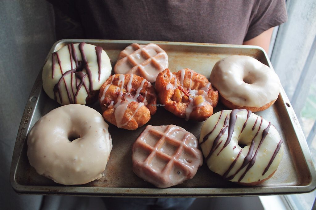 """Photo of El Burro Rayado Donuts - Food Cart  by <a href=""""/members/profile/AnaZamora"""">AnaZamora</a> <br/>Vegan donuts and wonuts <br/> February 25, 2018  - <a href='/contact/abuse/image/112631/363748'>Report</a>"""