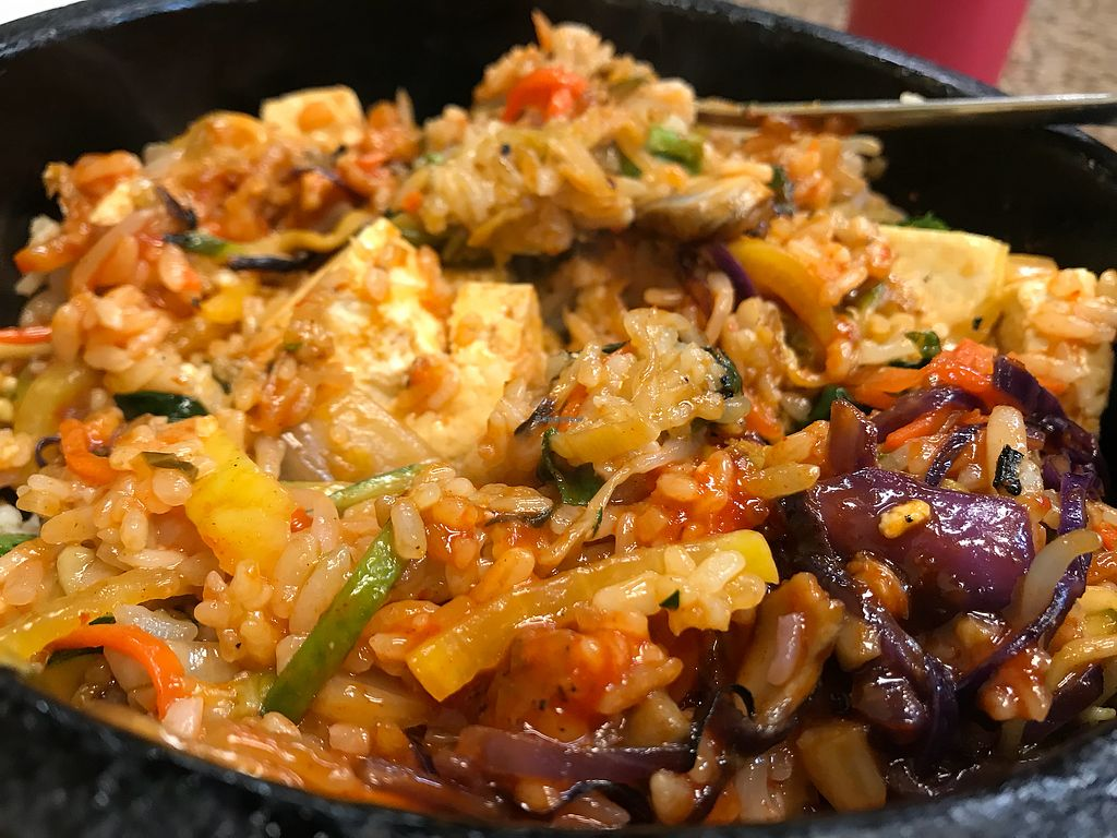 """Photo of Myung Dong Tofu Cabin  by <a href=""""/members/profile/KomoKomo"""">KomoKomo</a> <br/>Vegetable Dol Sot Bibimpop with Tofu, sizzling hot and delicious <br/> March 7, 2018  - <a href='/contact/abuse/image/112771/367897'>Report</a>"""