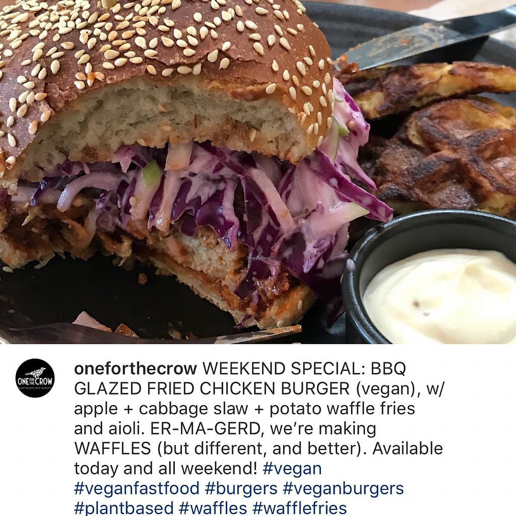 """Photo of One for the Crow  by <a href=""""/members/profile/Inga75"""">Inga75</a> <br/>BBQ v chicken burger w appleslaw and potato waffle <br/> May 25, 2018  - <a href='/contact/abuse/image/112836/404817'>Report</a>"""