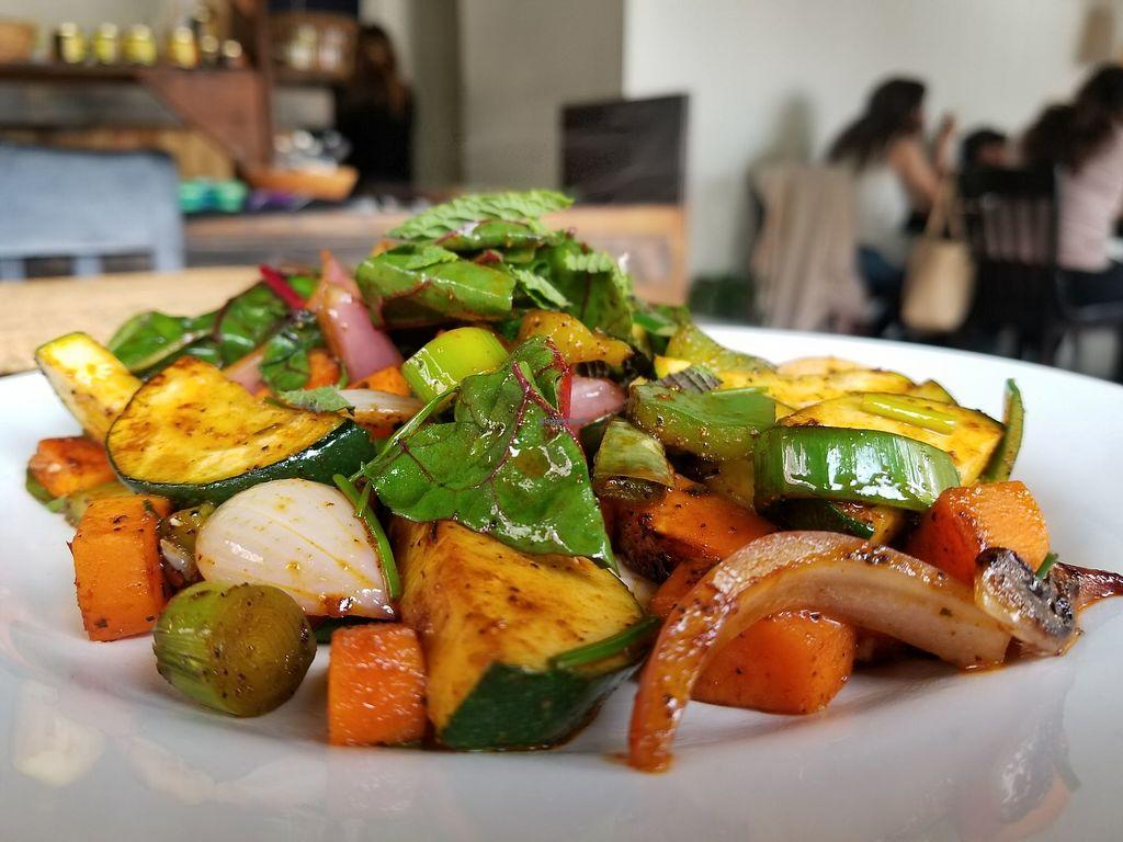 "Photo of Cocina del Sr Conejo  by <a href=""/members/profile/kenvegan"">kenvegan</a> <br/>Organic Sauteed Smoked Vegetables <br/> May 22, 2018  - <a href='/contact/abuse/image/112852/403601'>Report</a>"