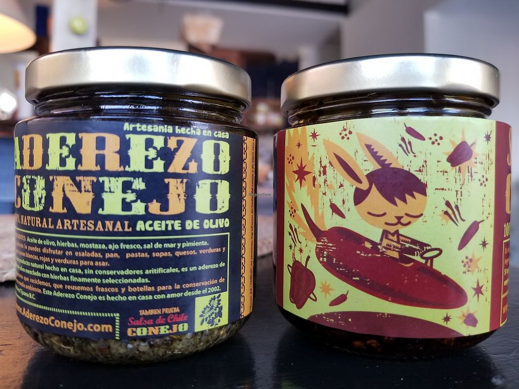 """Photo of Cocina del Sr Conejo  by <a href=""""/members/profile/kenvegan"""">kenvegan</a> <br/>Their own sauces for sale <br/> May 23, 2018  - <a href='/contact/abuse/image/112852/403607'>Report</a>"""