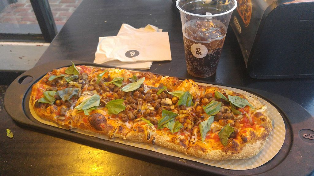 """Photo of &pizza - Wisconsin Ave  by <a href=""""/members/profile/Lomky"""">Lomky</a> <br/>Custom pizza with vegan cheese, vegan sausage, chickpeas, basil, and onion <br/> February 23, 2018  - <a href='/contact/abuse/image/112907/362924'>Report</a>"""