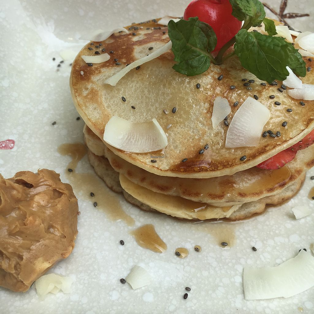"""Photo of The Fisherman Vegan Restaurant   by <a href=""""/members/profile/BrunaPaez"""">BrunaPaez</a> <br/>Pancake + banana + strawberry + maple syrup + peanut butter on side <br/> March 14, 2018  - <a href='/contact/abuse/image/113002/370408'>Report</a>"""