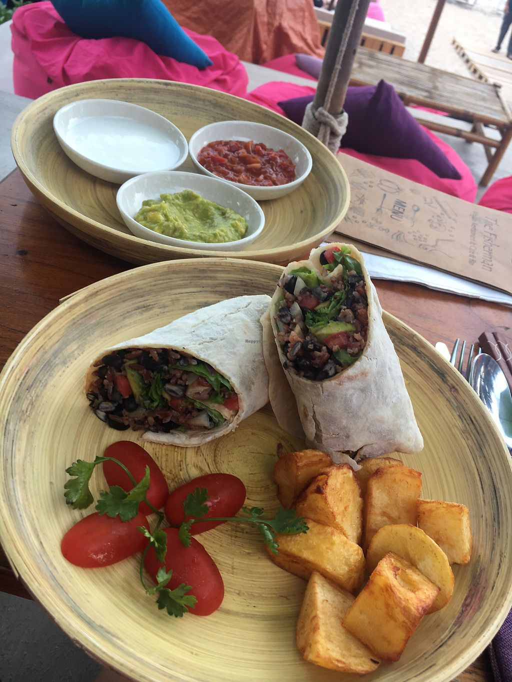 """Photo of The Fisherman Vegan Restaurant   by <a href=""""/members/profile/Tisa93"""">Tisa93</a> <br/>Those potato's were heaven. Such a good Mexican wrap  <br/> May 5, 2018  - <a href='/contact/abuse/image/113002/395259'>Report</a>"""