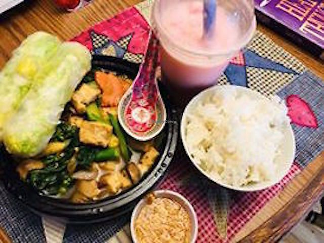 """Photo of Taste of Asia  by <a href=""""/members/profile/BeccaBochenek"""">BeccaBochenek</a> <br/>Pad Cashew Nut with tofu with Strawberry Boba with Coconut milk <br/> February 26, 2018  - <a href='/contact/abuse/image/113043/364274'>Report</a>"""