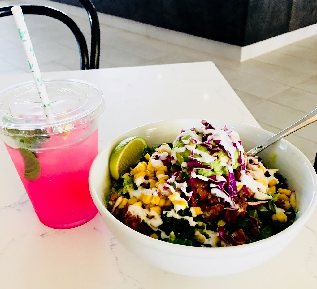 """Photo of Chef Chloe and the Vegan Cafe  by <a href=""""/members/profile/ChereseTarter"""">ChereseTarter</a> <br/>Dragon Fruit Lemonade with Salad  <br/> February 26, 2018  - <a href='/contact/abuse/image/113080/364244'>Report</a>"""