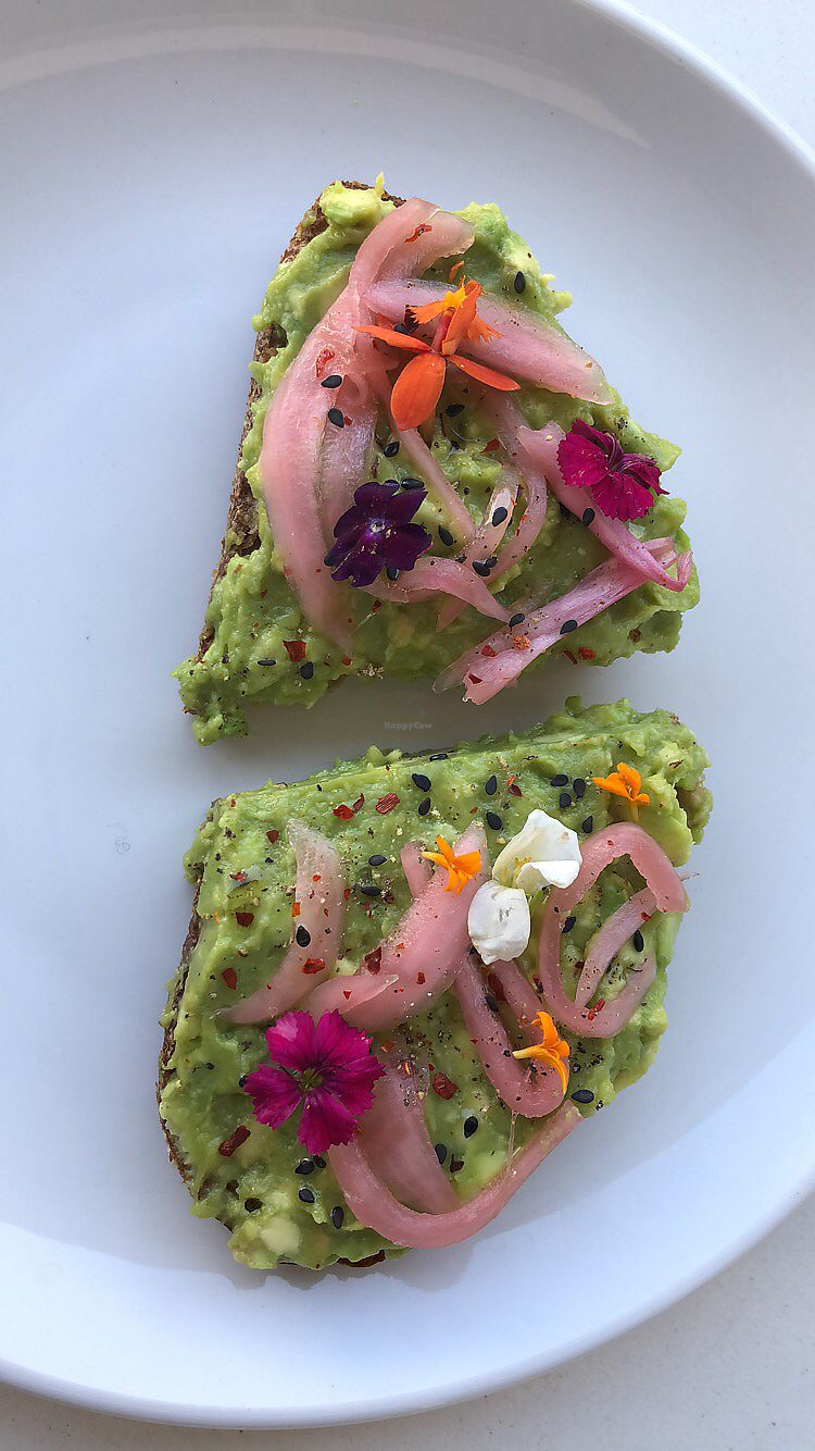 """Photo of Chef Chloe and the Vegan Cafe  by <a href=""""/members/profile/_lara_krater_"""">_lara_krater_</a> <br/>Avocado truffle toast <br/> March 27, 2018  - <a href='/contact/abuse/image/113080/376805'>Report</a>"""