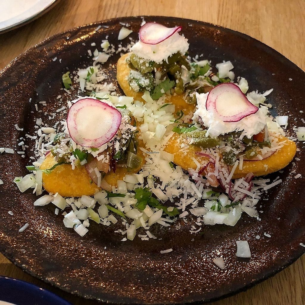 """Photo of Taqueria El Rey  by <a href=""""/members/profile/SeitanSeitanSeitan"""">SeitanSeitanSeitan</a> <br/>Vegan tlacoyos.  <br/> February 27, 2018  - <a href='/contact/abuse/image/113097/364501'>Report</a>"""