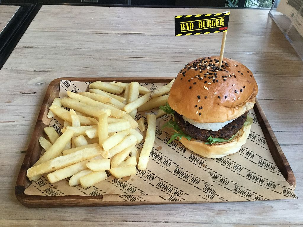 "Photo of Bad Burger  by <a href=""/members/profile/Mike%20Munsie"">Mike Munsie</a> <br/> vegan burger <br/> March 1, 2018  - <a href='/contact/abuse/image/113108/365289'>Report</a>"