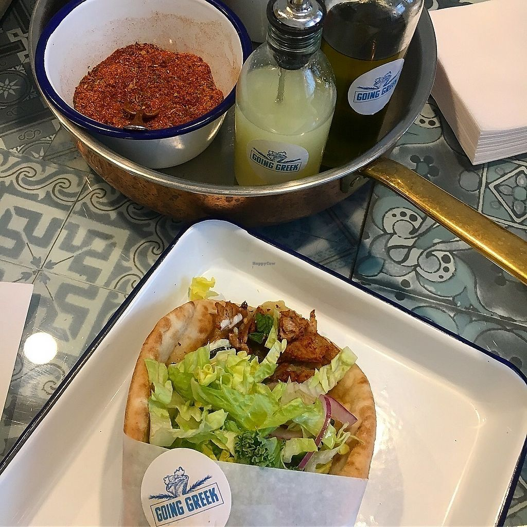 "Photo of Going Greek  by <a href=""/members/profile/SeitanSeitanSeitan"">SeitanSeitanSeitan</a> <br/>Vegan gyros and condiments <br/> February 28, 2018  - <a href='/contact/abuse/image/113155/364778'>Report</a>"