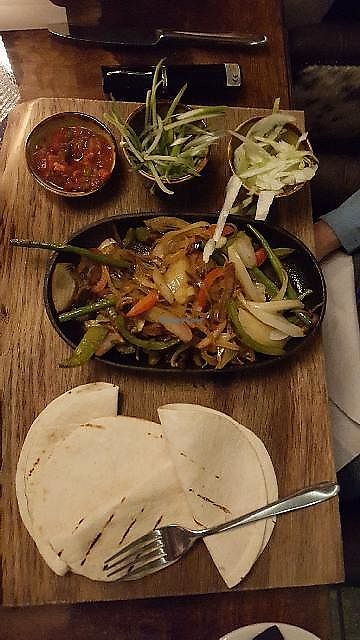 "Photo of The Boars Head  by <a href=""/members/profile/Ian.Hartas"">Ian.Hartas</a> <br/>One of their vegan options - veg fajitas <br/> February 28, 2018  - <a href='/contact/abuse/image/113178/364813'>Report</a>"
