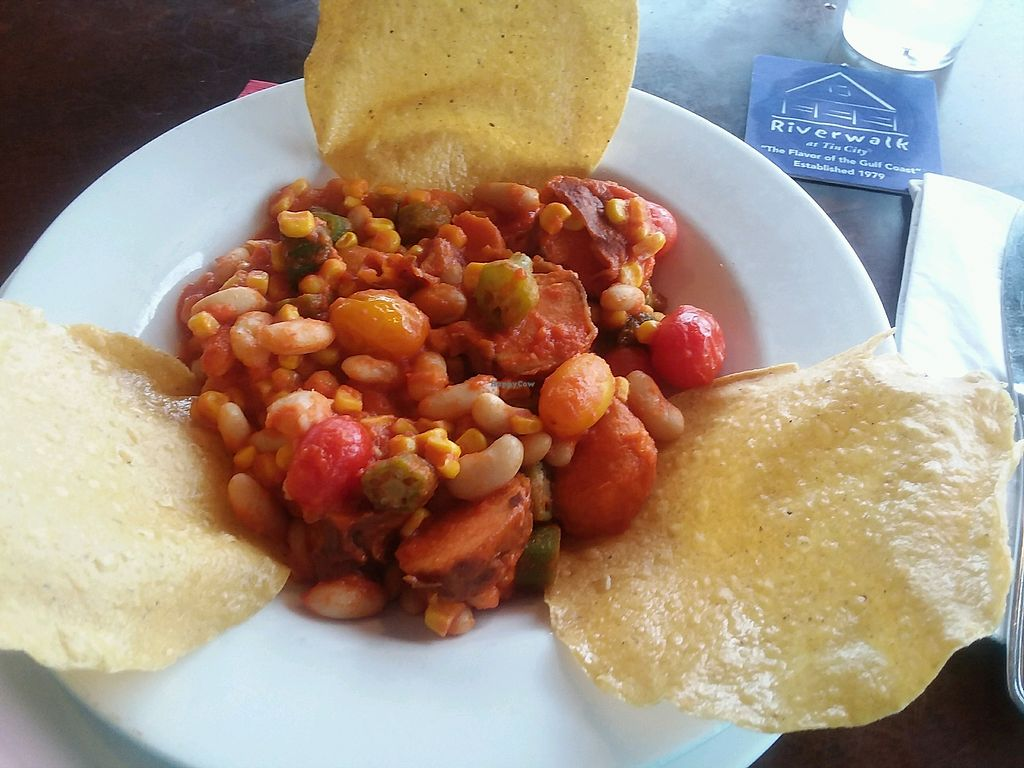 """Photo of Riverwalk at Tin City  by <a href=""""/members/profile/mshelene"""">mshelene</a> <br/>""""Southern Roots"""" dish has veggies and beans in a vegan red pepper sauce <br/> May 20, 2018  - <a href='/contact/abuse/image/113203/402684'>Report</a>"""