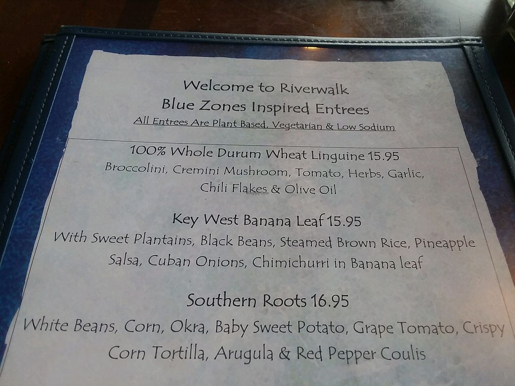 """Photo of Riverwalk at Tin City  by <a href=""""/members/profile/mshelene"""">mshelene</a> <br/>Blue Zones plant based meals on back page of menu <br/> May 20, 2018  - <a href='/contact/abuse/image/113203/402686'>Report</a>"""