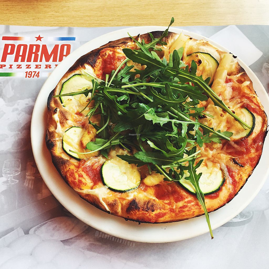 """Photo of Pizzeria Parma  by <a href=""""/members/profile/slovenianvegan"""">slovenianvegan</a> <br/>""""G. Verdi"""" pizza with vegan cheese.  Photo by: Slovenian Vegan on Facebook <br/> March 1, 2018  - <a href='/contact/abuse/image/113268/365284'>Report</a>"""