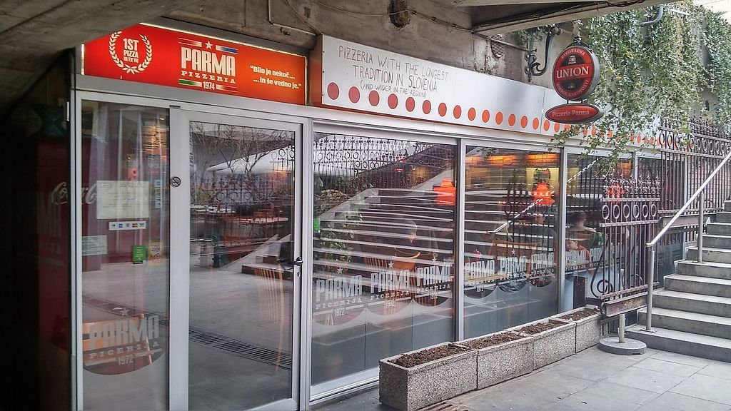 """Photo of Pizzeria Parma  by <a href=""""/members/profile/slovenianvegan"""">slovenianvegan</a> <br/>Outdoor view. Pizzeria is located by the staircase <br/> March 1, 2018  - <a href='/contact/abuse/image/113268/365412'>Report</a>"""
