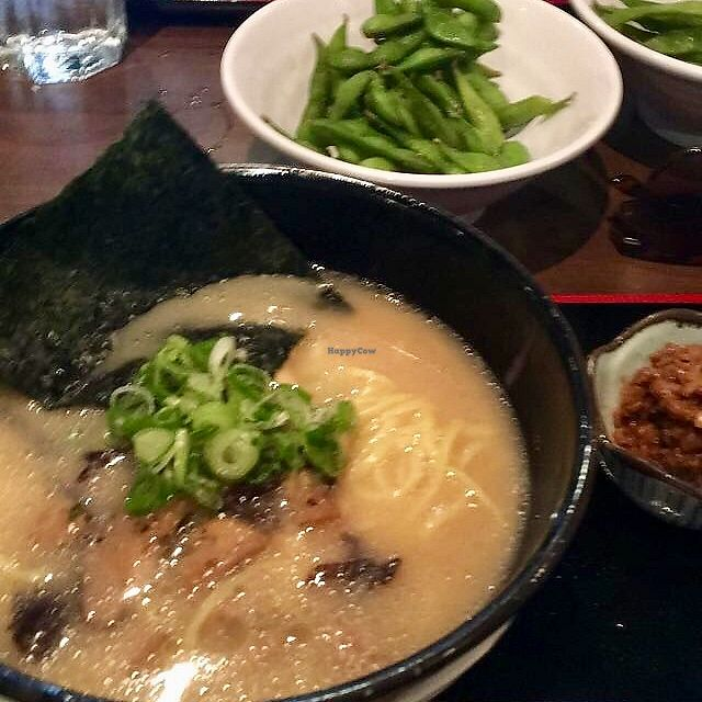 """Photo of Ramen Isshin  by <a href=""""/members/profile/LinneaSahlgaard"""">LinneaSahlgaard</a> <br/>The Vegetarian Shoyu Ramen (I think) with fried ground tofu on the side <br/> April 23, 2018  - <a href='/contact/abuse/image/113346/389776'>Report</a>"""