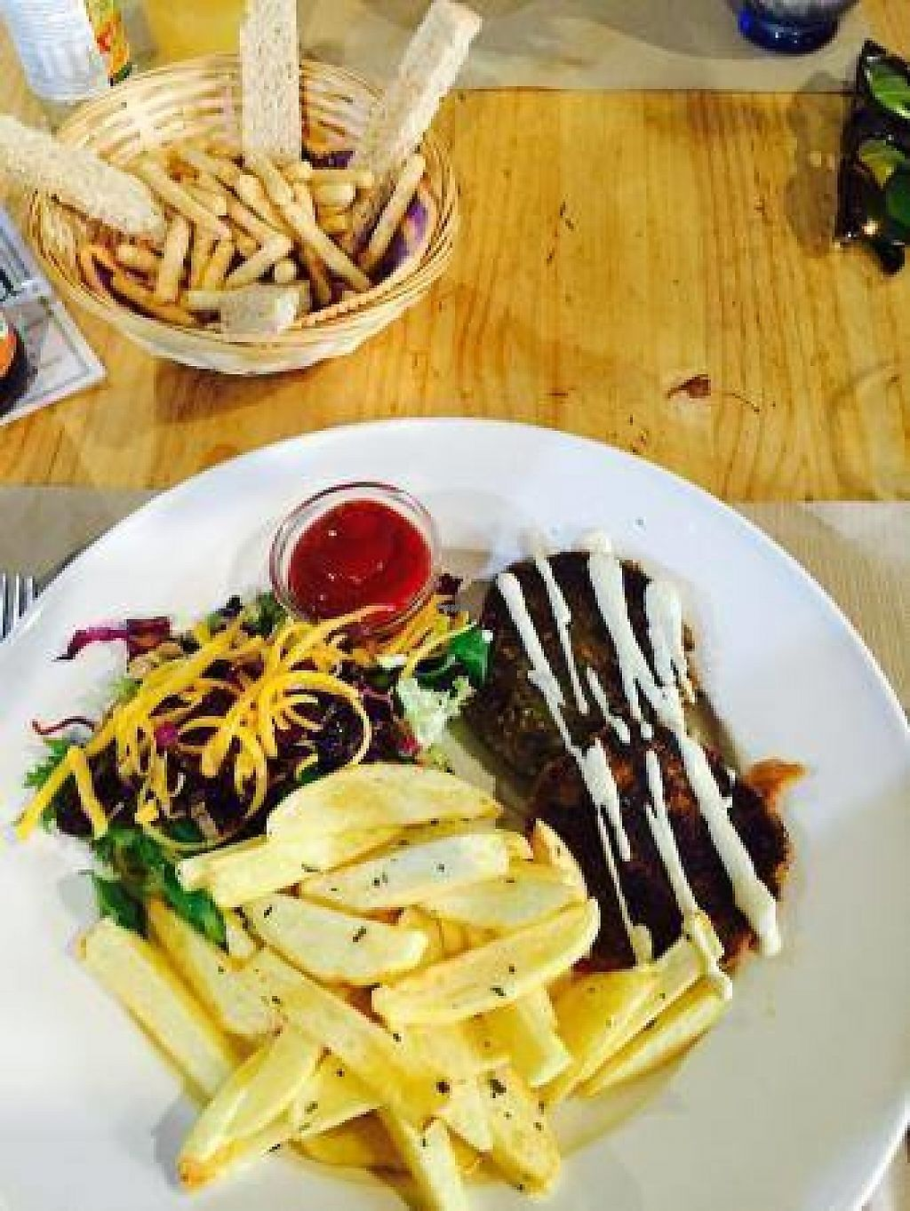 """Photo of Bar Ecologico Gaia  by <a href=""""/members/profile/CentroEcologicoGaia"""">CentroEcologicoGaia</a> <br/>Home made chips and veggie burger can´t taste any better than this!  <br/> November 14, 2016  - <a href='/contact/abuse/image/11338/190047'>Report</a>"""