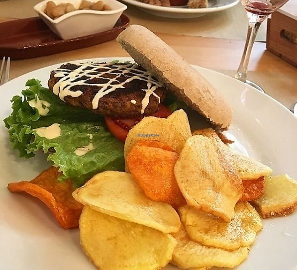 """Photo of Bar Ecologico Gaia  by <a href=""""/members/profile/MarinaGalv%C3%A3o"""">MarinaGalvão</a> <br/>Veggie Burger with Fried Potatoes  <br/> January 5, 2018  - <a href='/contact/abuse/image/11338/343228'>Report</a>"""