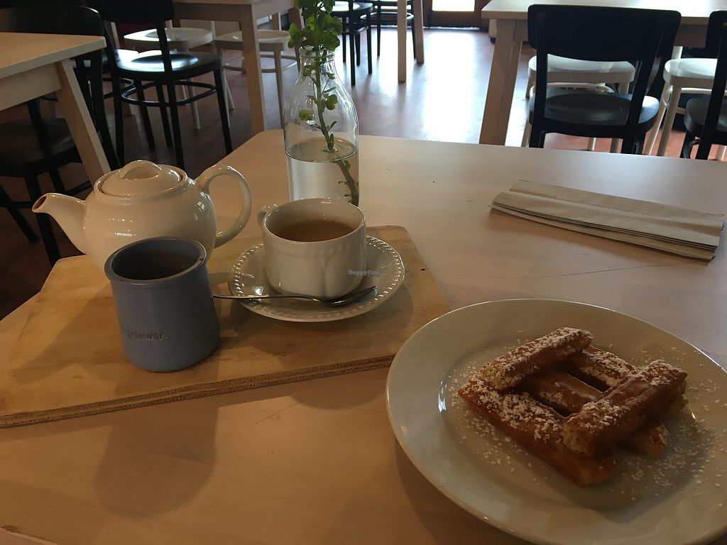"""Photo of Calthorpe Project Garden Cafe  by <a href=""""/members/profile/alice28"""">alice28</a> <br/>Churros (vegan) and tea <br/> March 19, 2018  - <a href='/contact/abuse/image/113422/372880'>Report</a>"""