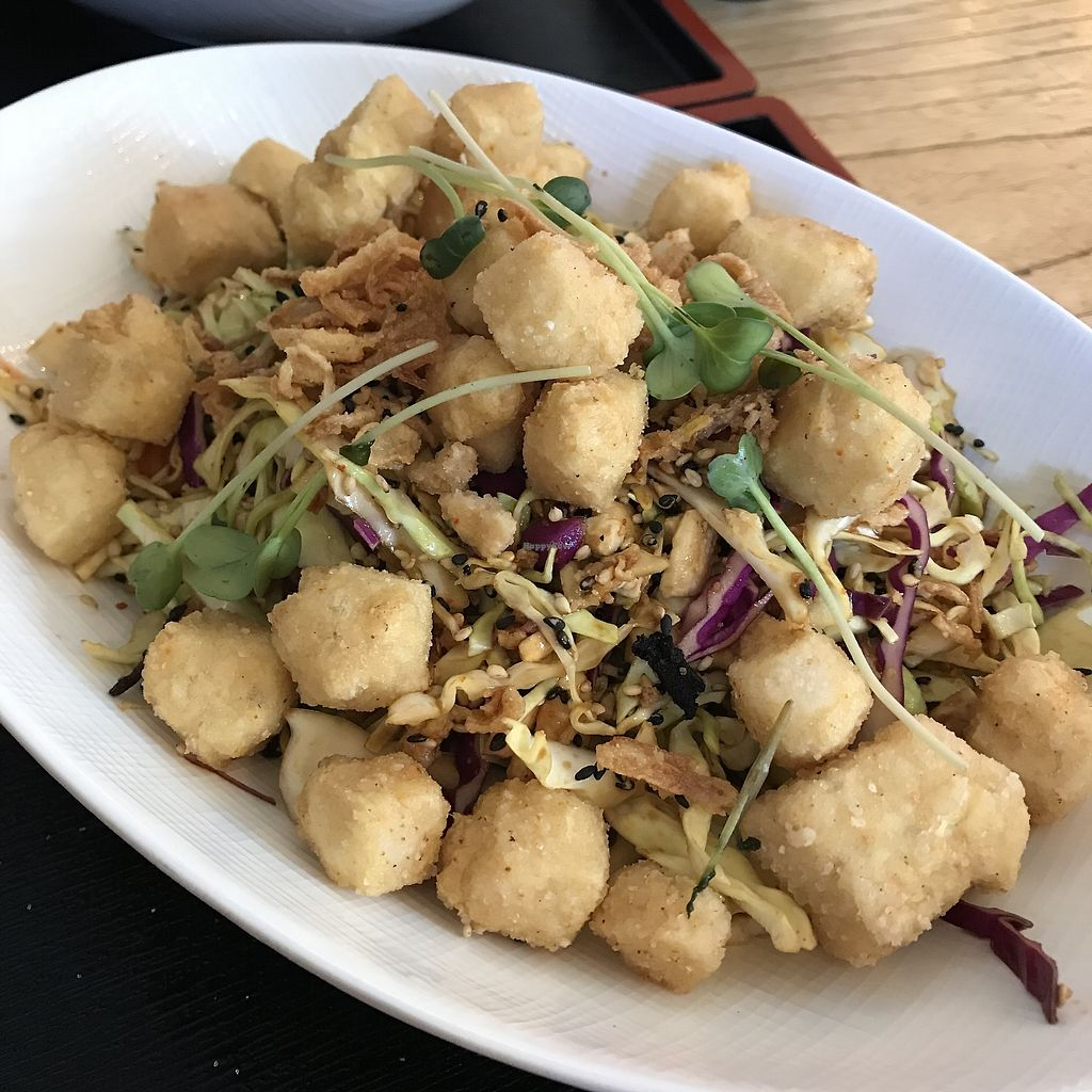 """Photo of Penke Bar & Bistro  by <a href=""""/members/profile/AliciaOnion"""">AliciaOnion</a> <br/>Crispy  tofu salad <br/> March 2, 2018  - <a href='/contact/abuse/image/113457/365659'>Report</a>"""
