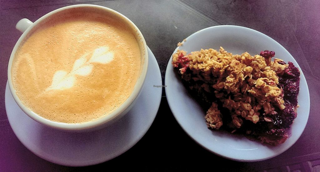 """Photo of Cafe de Nucallacta  by <a href=""""/members/profile/koyotesylvie"""">koyotesylvie</a> <br/>Vegan berry crumble and soy latte (special blend coffee) <br/> March 11, 2018  - <a href='/contact/abuse/image/113630/369332'>Report</a>"""