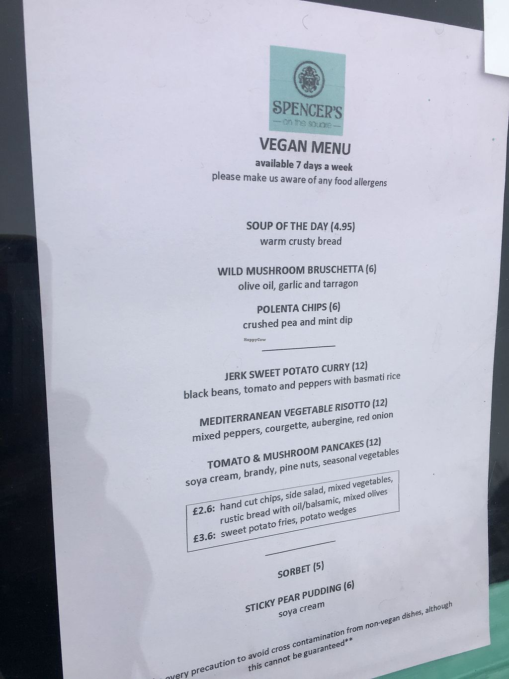 """Photo of Spencer's On The Square  by <a href=""""/members/profile/Veganbloke"""">Veganbloke</a> <br/>Menu (April 2018) <br/> April 21, 2018  - <a href='/contact/abuse/image/113639/389188'>Report</a>"""