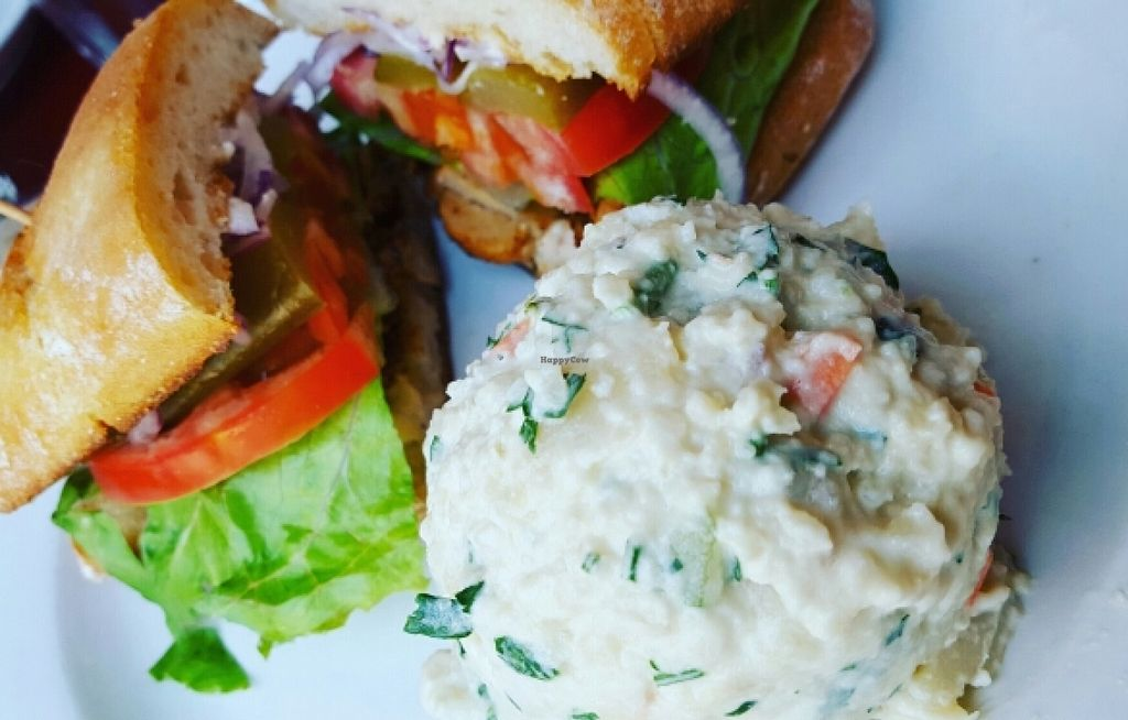 "Photo of CLOSED: Herbivore - Berkeley  by <a href=""/members/profile/VeganVentures"">VeganVentures</a> <br/>Grilled Chik'n sandwich & potato salad <br/> July 2, 2016  - <a href='/contact/abuse/image/11367/157436'>Report</a>"