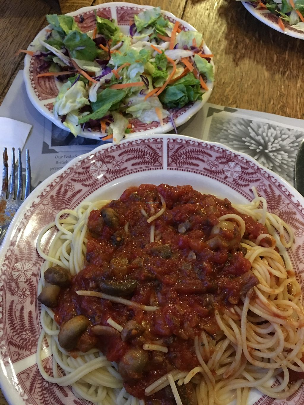 """Photo of The Old Spaghetti Factory  by <a href=""""/members/profile/marieroberts"""">marieroberts</a> <br/>Mushroom sauce and garden side salad <br/> April 29, 2018  - <a href='/contact/abuse/image/113715/392334'>Report</a>"""