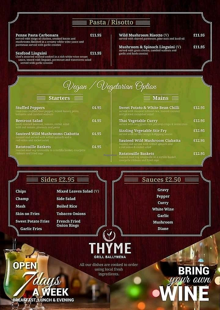 """Photo of Thyme  by <a href=""""/members/profile/GeoffreyAiken"""">GeoffreyAiken</a> <br/>vegan / veggie options  <br/> March 6, 2018  - <a href='/contact/abuse/image/113818/367402'>Report</a>"""