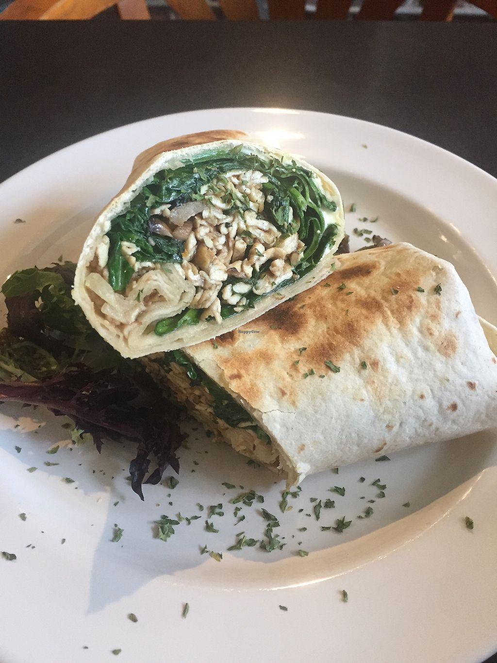 """Photo of Rustic Cosmo Cafe  by <a href=""""/members/profile/Gracem"""">Gracem</a> <br/>Tofu and mushroom scramble with spinach in a wrap <br/> March 9, 2018  - <a href='/contact/abuse/image/113853/368625'>Report</a>"""