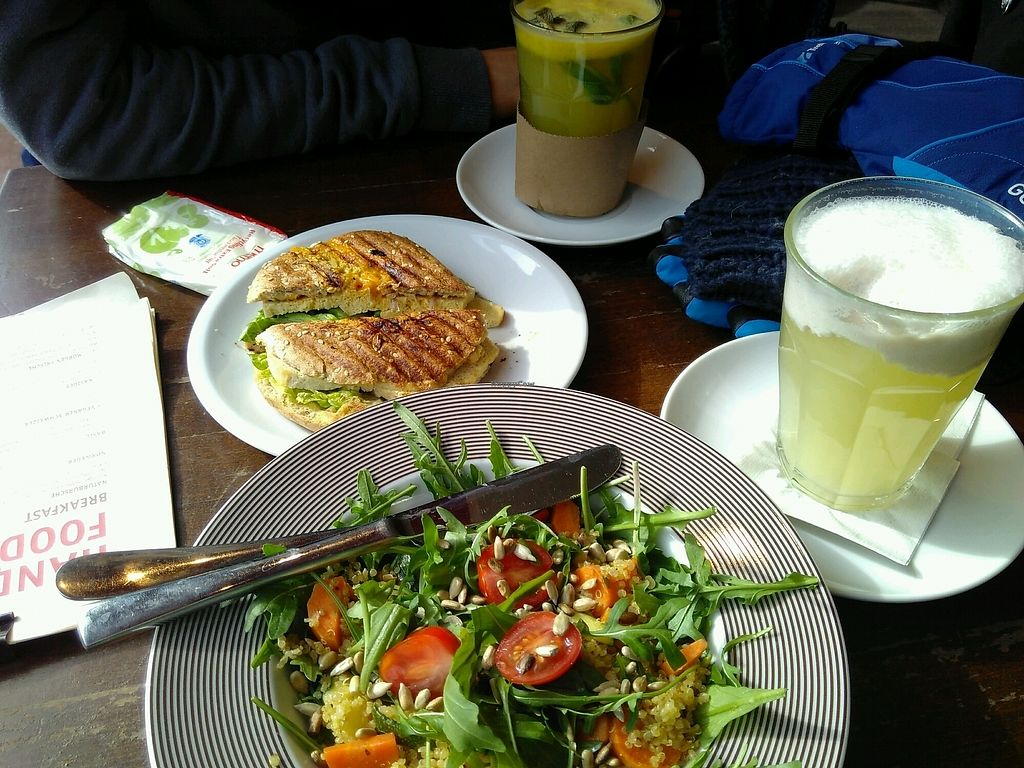 "Photo of Bagels & Coffee  by <a href=""/members/profile/EmmyVD"">EmmyVD</a> <br/>quinoa salad and tofu bagel <br/> March 17, 2018  - <a href='/contact/abuse/image/113863/371858'>Report</a>"