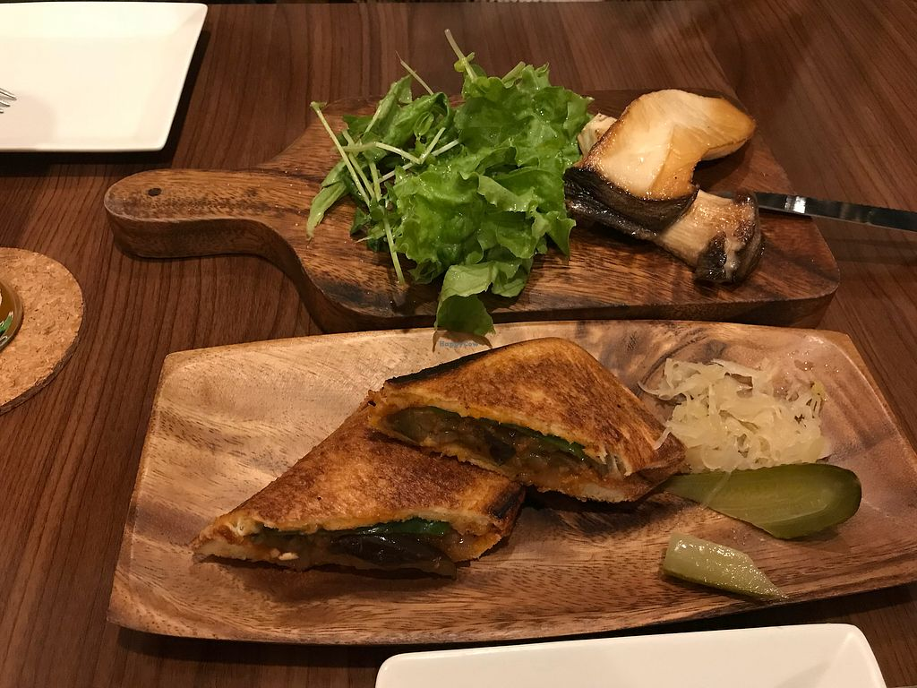 """Photo of Roo Cafe & Bar  by <a href=""""/members/profile/JeromeRhassanHill"""">JeromeRhassanHill</a> <br/>King Oyster Mushroom(Eringi) & Ratatouille Sandwich <br/> May 27, 2018  - <a href='/contact/abuse/image/113895/405871'>Report</a>"""