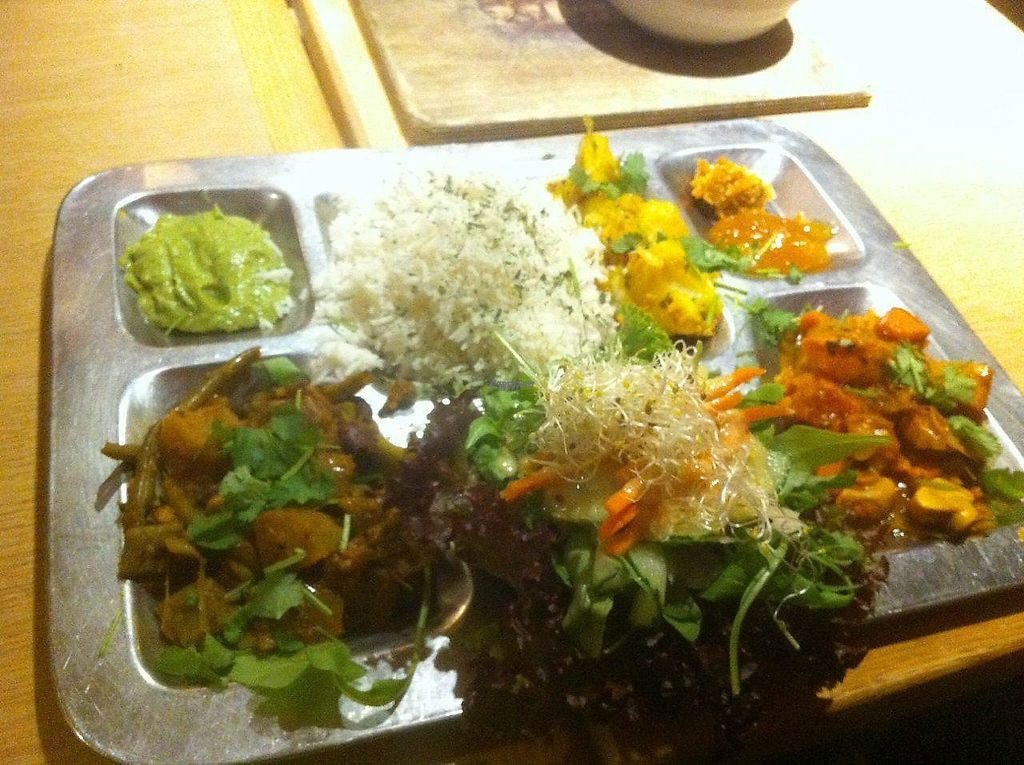 """Photo of W Der Imbiss - Prenzlauer Berg  by <a href=""""/members/profile/Sternanis"""">Sternanis</a> <br/>Thali with extra rice (intead of non-vegan bread) <br/> January 11, 2017  - <a href='/contact/abuse/image/11400/210539'>Report</a>"""