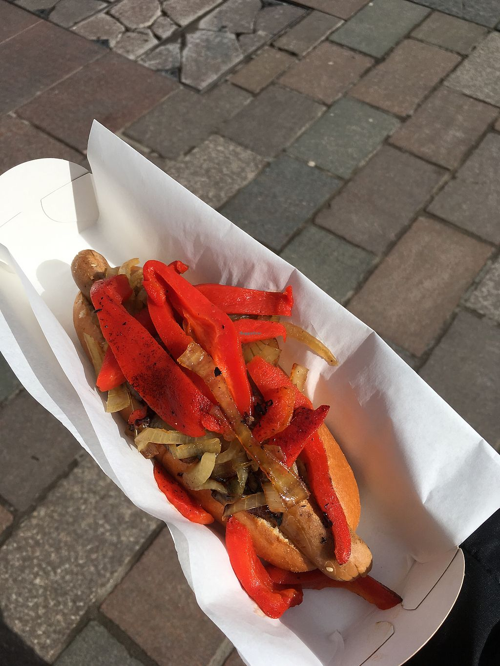 """Photo of The Glasvegan  by <a href=""""/members/profile/RhonaM"""">RhonaM</a> <br/>""""Not dog"""" with sweet fried onion & roasted red peppers <br/> March 30, 2018  - <a href='/contact/abuse/image/114012/378490'>Report</a>"""